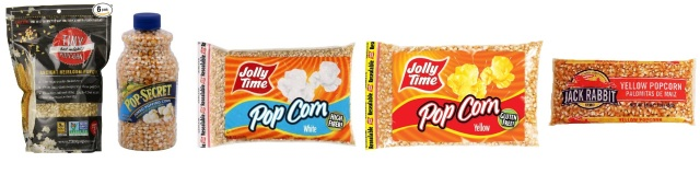 The contenders: Ancient Heirloom, PopSecret, Jolly Pop - White, Jolly Pop - Yellow, and Jack Rabbit.